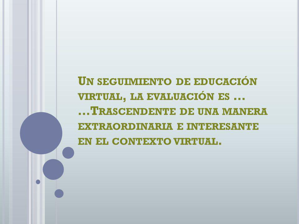 Un seguimiento de educación virtual, la evaluación es … …Trascendente de una manera extraordinaria e interesante en el contexto virtual.