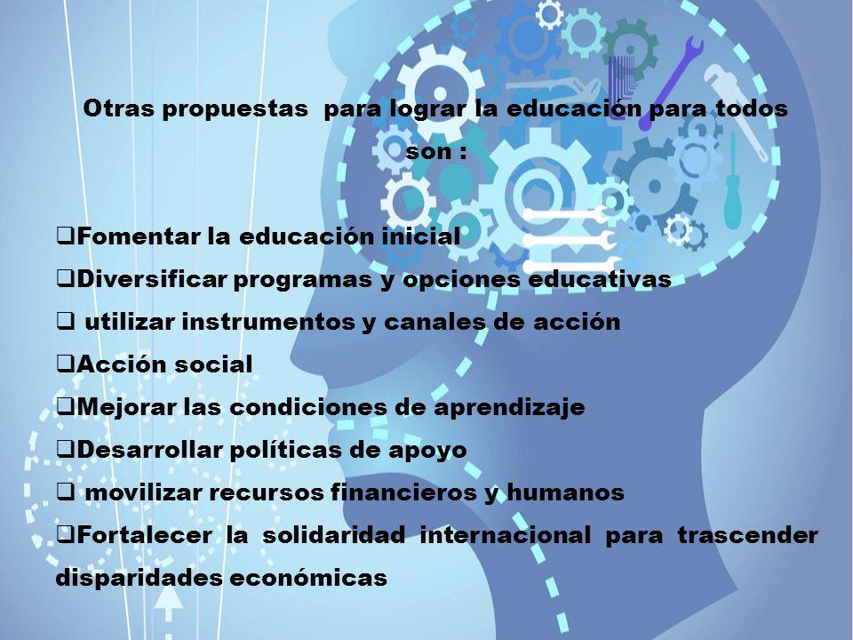 Otras propuestas para lograr la educación para todos son :
