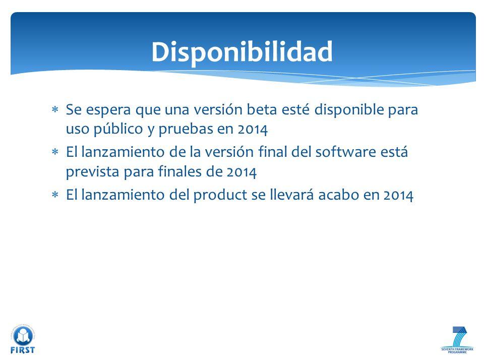 Disponibilidad Se espera que una versión beta esté disponible para uso público y pruebas en 2014.