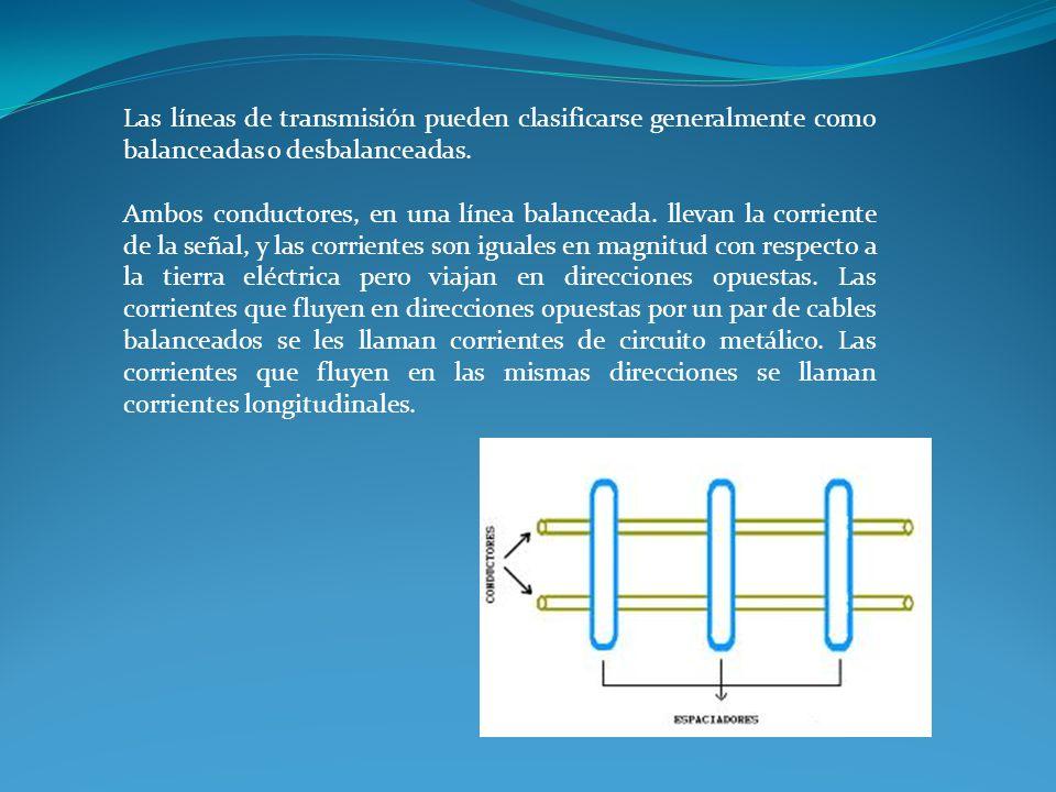 Las líneas de transmisión pueden clasificarse generalmente como balanceadas o desbalanceadas.