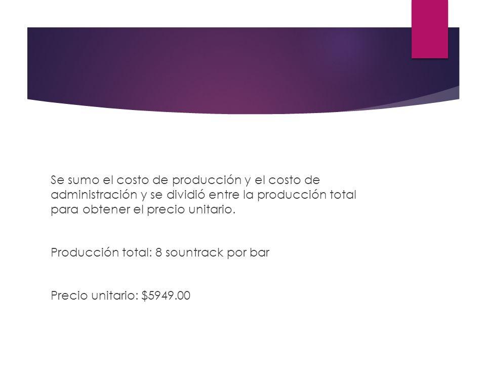 Se sumo el costo de producción y el costo de administración y se dividió entre la producción total para obtener el precio unitario.