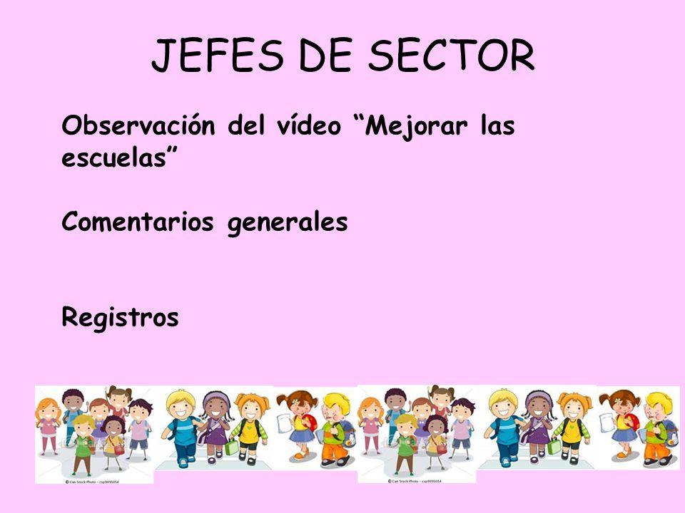 JEFES DE SECTOR Observación del vídeo Mejorar las escuelas