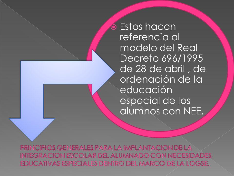 Estos hacen referencia al modelo del Real Decreto 696/1995 de 28 de abril , de ordenación de la educación especial de los alumnos con NEE.