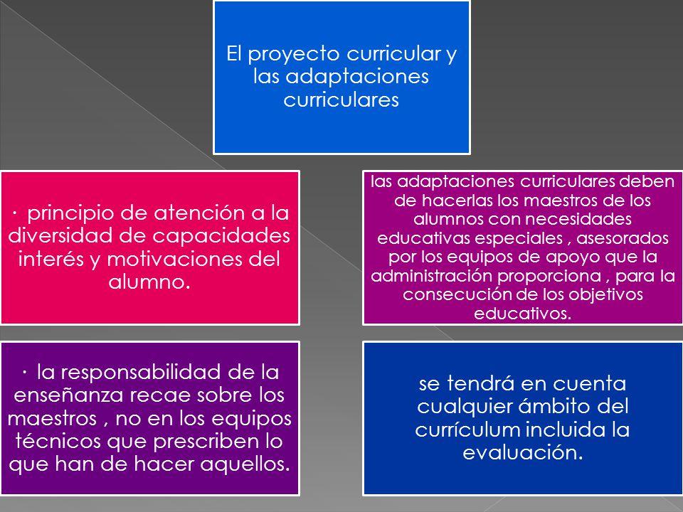 El proyecto curricular y las adaptaciones curriculares