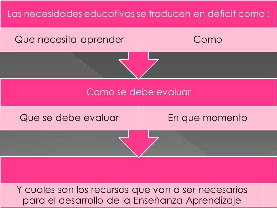 Las necesidades educativas se traducen en déficit como :