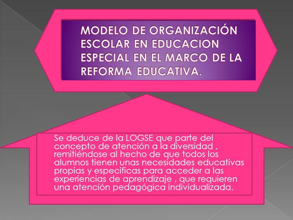 MODELO DE ORGANIZACIÓN ESCOLAR EN EDUCACION ESPECIAL EN EL MARCO DE LA REFORMA EDUCATIVA.