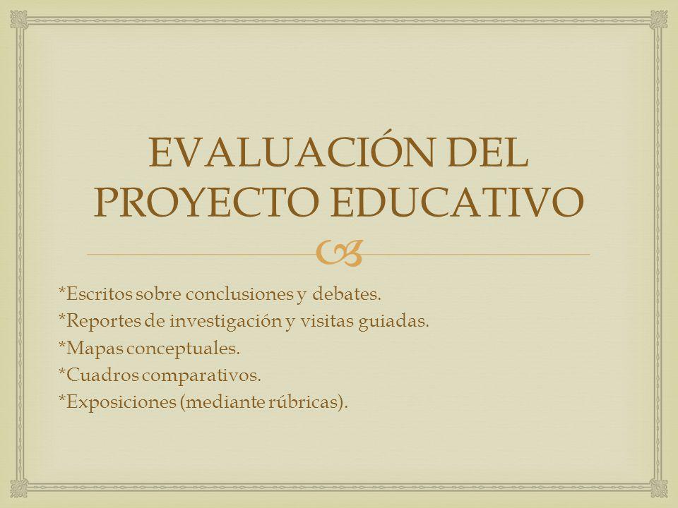 EVALUACIÓN DEL PROYECTO EDUCATIVO