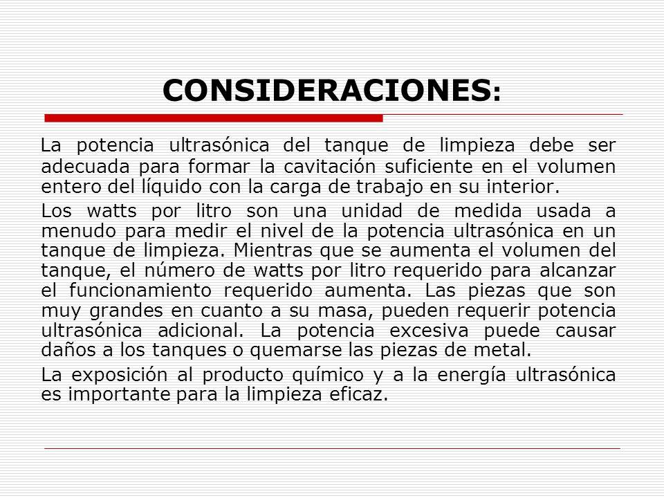 CONSIDERACIONES: