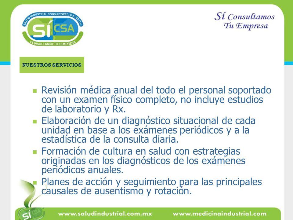 NUESTROS SERVICIOS Revisión médica anual del todo el personal soportado con un examen físico completo, no incluye estudios de laboratorio y Rx.