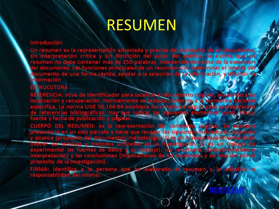 RESUMEN REGRESAR Introducción