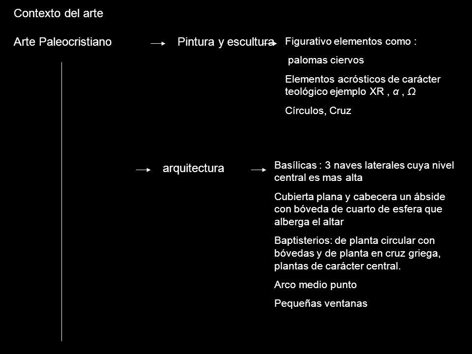Contexto del arte Arte Paleocristiano Pintura y escultura arquitectura