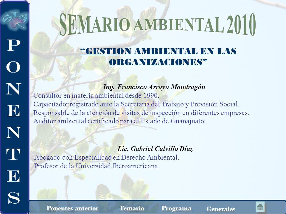 SEMARIO AMBIENTAL 2010 GESTION AMBIENTAL EN LAS ORGANIZACIONES