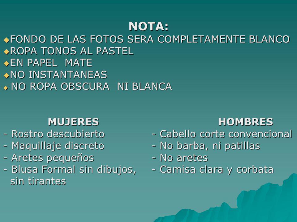 NOTA: FONDO DE LAS FOTOS SERA COMPLETAMENTE BLANCO