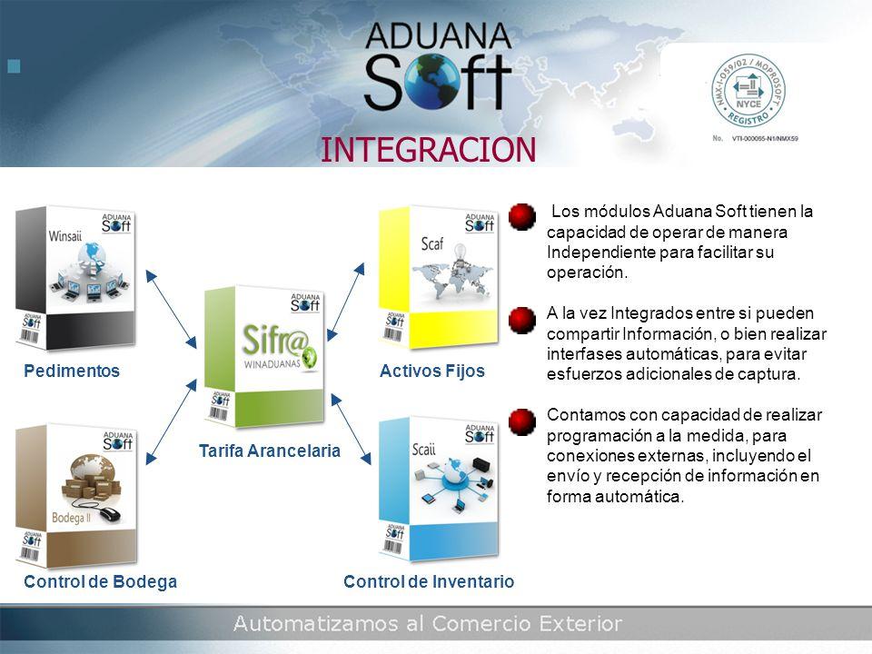 INTEGRACION Los módulos Aduana Soft tienen la capacidad de operar de manera Independiente para facilitar su operación.