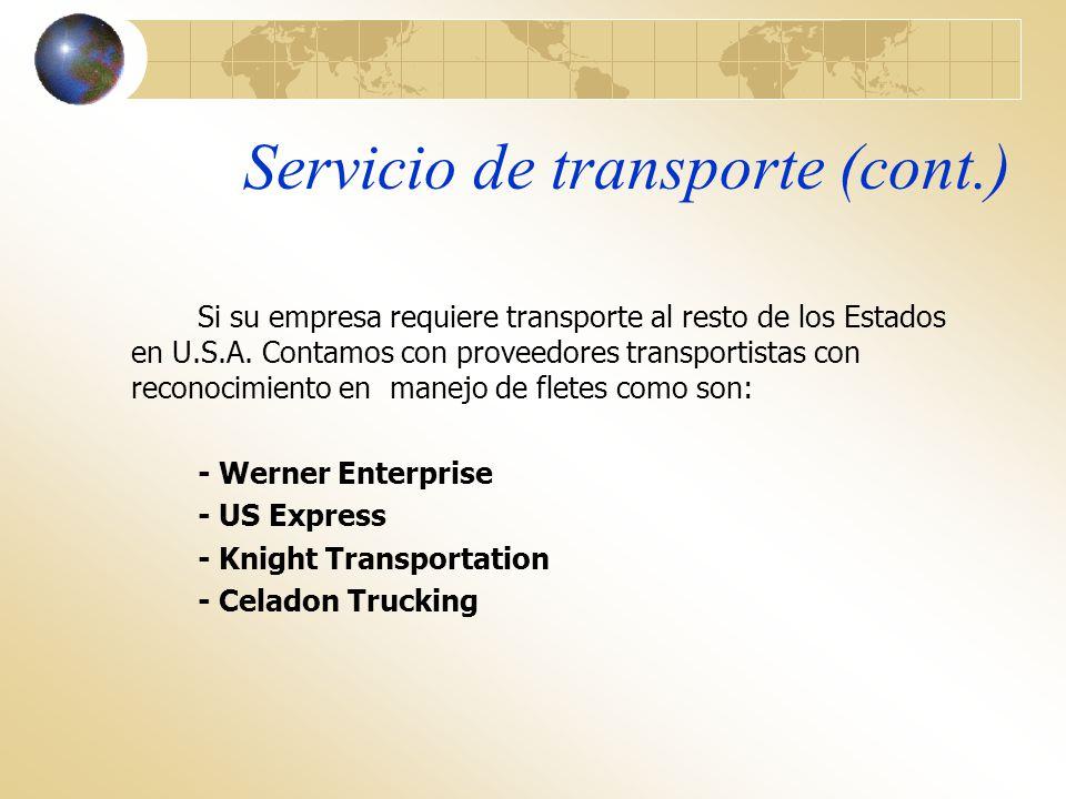 Servicio de transporte (cont.)