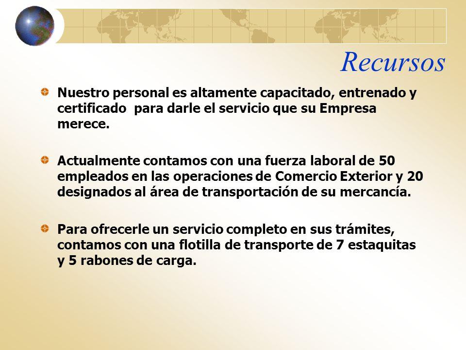 Recursos Nuestro personal es altamente capacitado, entrenado y certificado para darle el servicio que su Empresa merece.