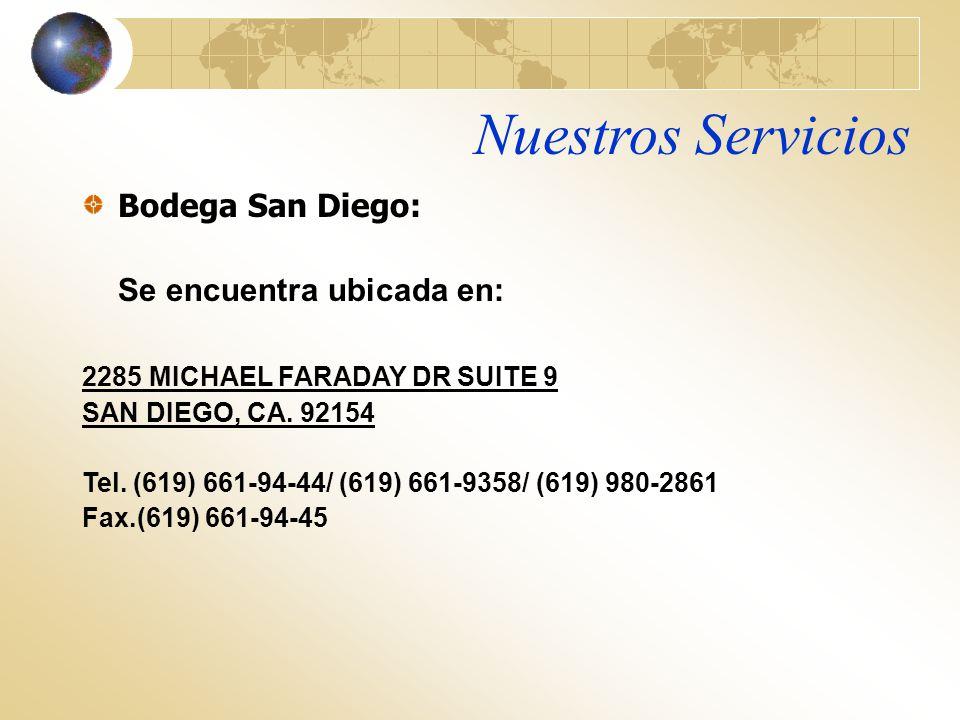 Nuestros Servicios Bodega San Diego: Se encuentra ubicada en: