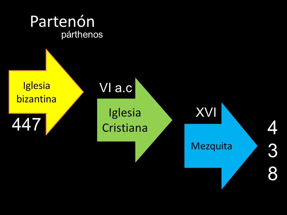 438 Partenón 447 VI a.c Iglesia Cristiana XVI Iglesia bizantina