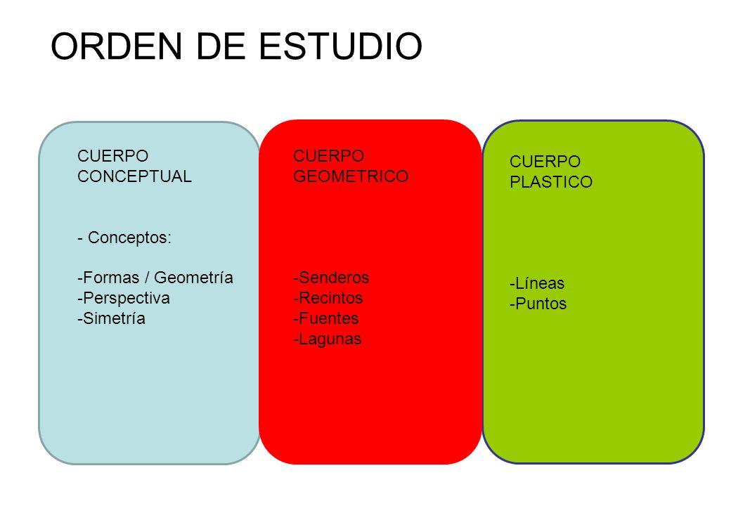 ORDEN DE ESTUDIO CUERPO CONCEPTUAL - Conceptos: -Formas / Geometría