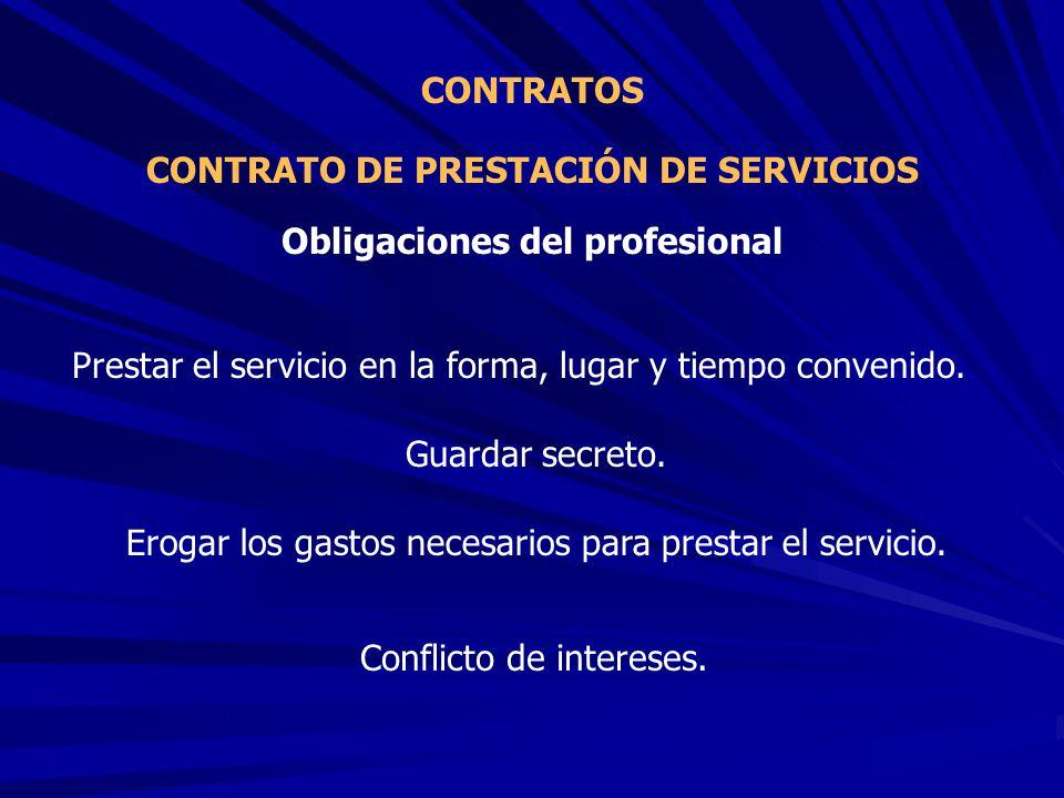 CONTRATO DE PRESTACIÓN DE SERVICIOS Obligaciones del profesional