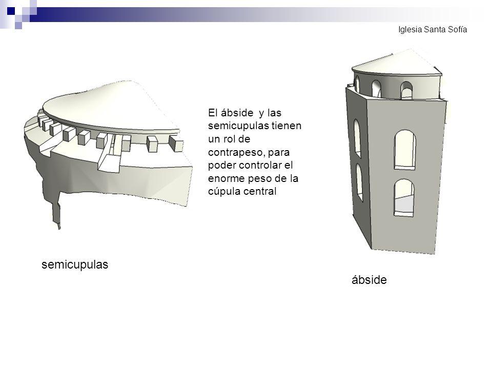 Iglesia Santa SofíaEl ábside y las semicupulas tienen un rol de contrapeso, para poder controlar el enorme peso de la cúpula central.