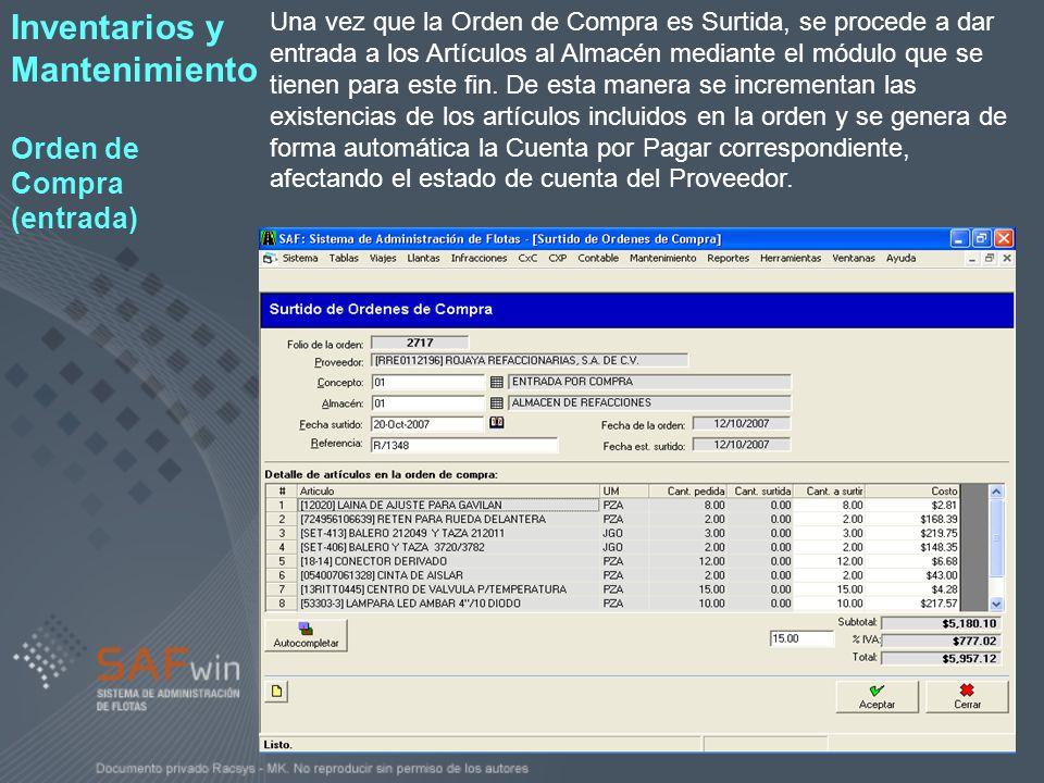 Inventarios y Mantenimiento Orden de Compra (entrada)
