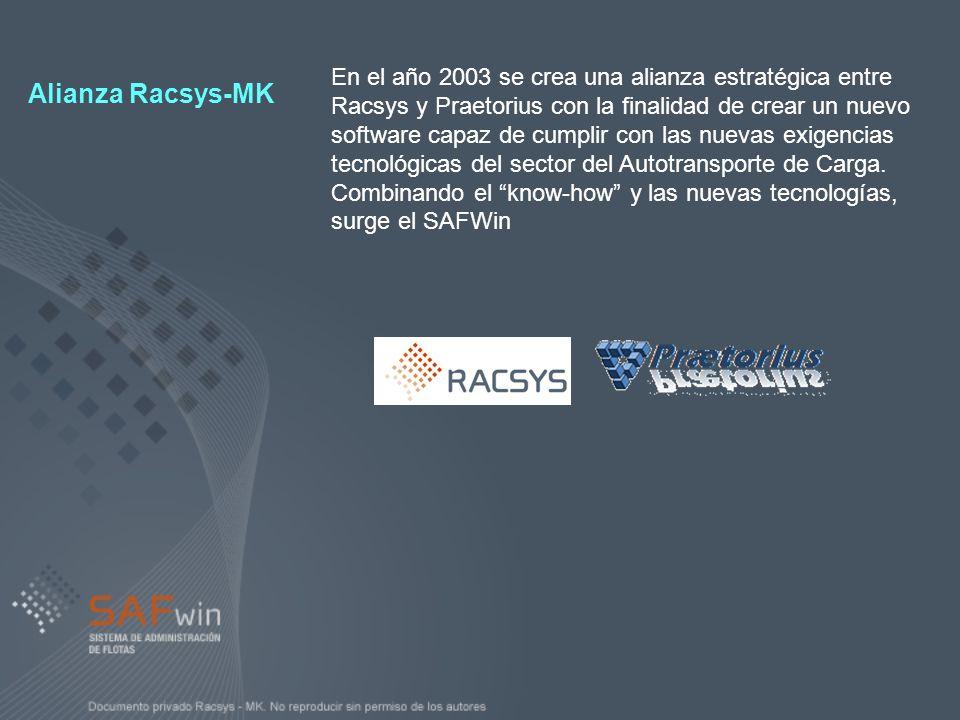 En el año 2003 se crea una alianza estratégica entre Racsys y Praetorius con la finalidad de crear un nuevo software capaz de cumplir con las nuevas exigencias tecnológicas del sector del Autotransporte de Carga. Combinando el know-how y las nuevas tecnologías, surge el SAFWin