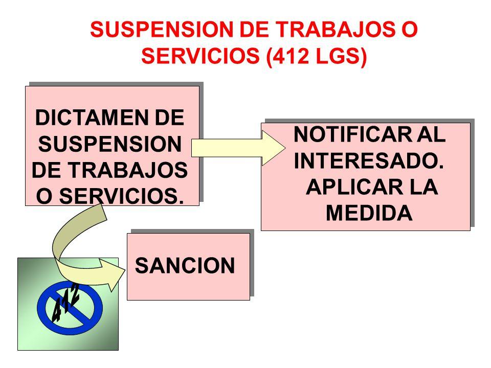 SUSPENSION DE TRABAJOS O SERVICIOS (412 LGS)