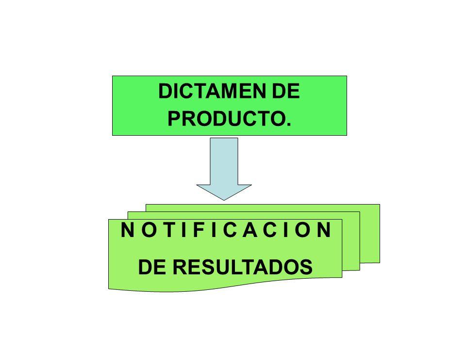 DICTAMEN DE PRODUCTO. N O T I F I C A C I O N DE RESULTADOS