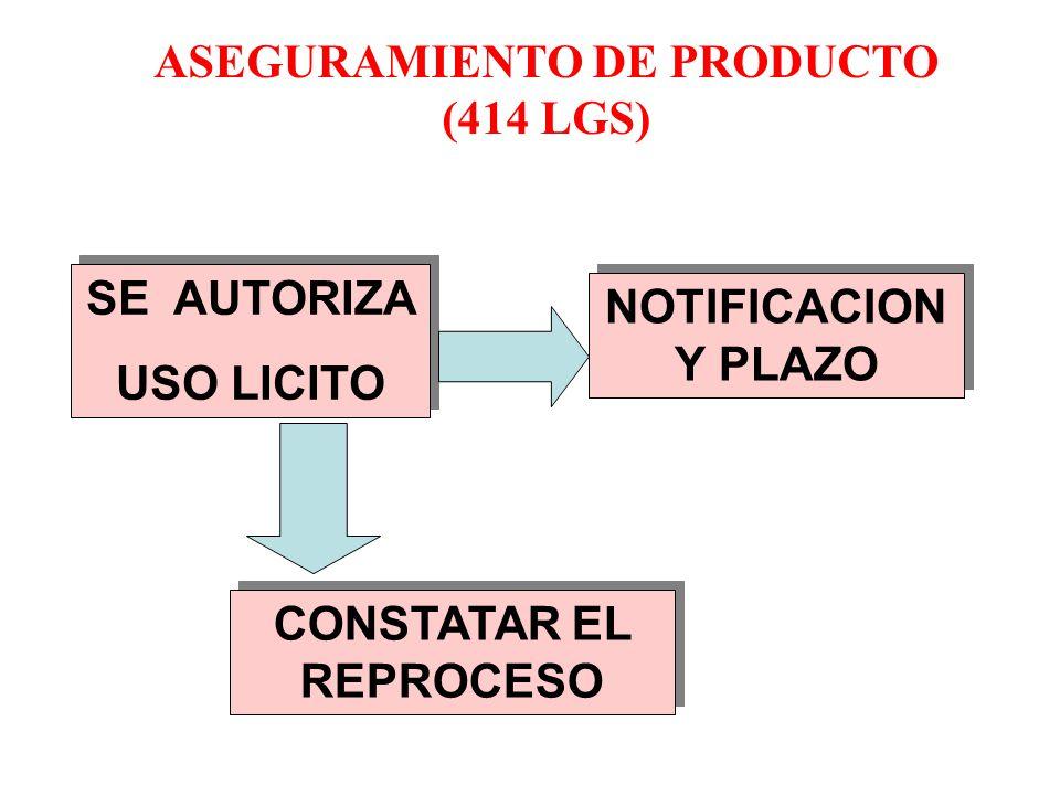 ASEGURAMIENTO DE PRODUCTO (414 LGS) CONSTATAR EL REPROCESO