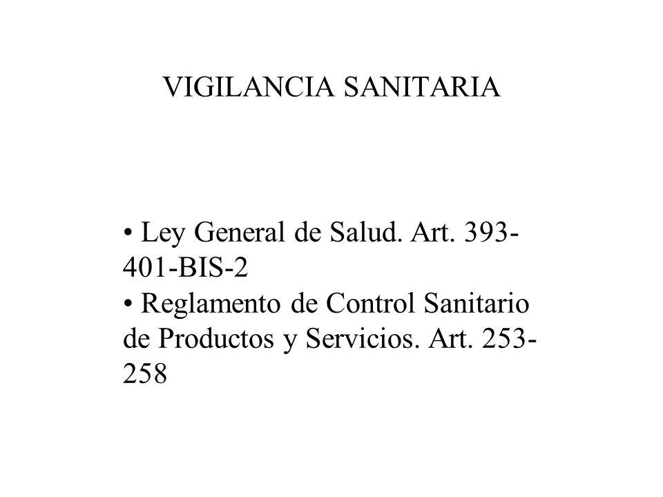 VIGILANCIA SANITARIA Ley General de Salud. Art. 393-401-BIS-2.