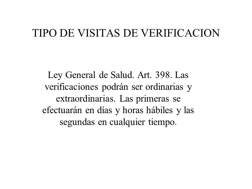 TIPO DE VISITAS DE VERIFICACION