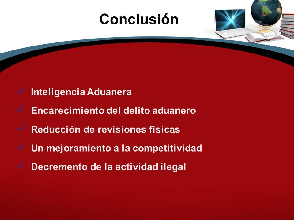 Conclusión Inteligencia Aduanera Encarecimiento del delito aduanero