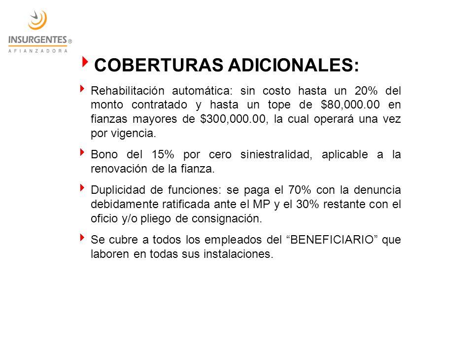 COBERTURAS ADICIONALES: