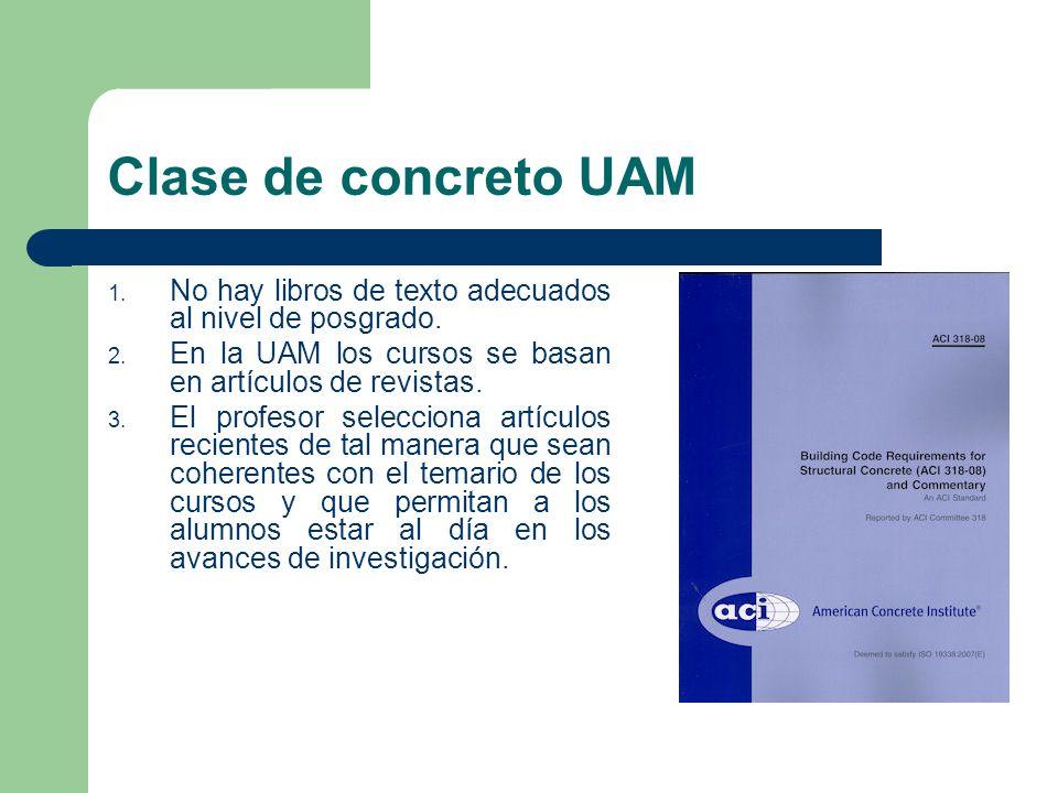 Clase de concreto UAM No hay libros de texto adecuados al nivel de posgrado. En la UAM los cursos se basan en artículos de revistas.