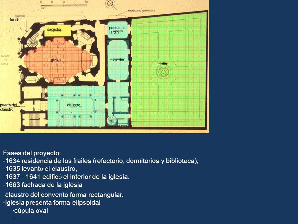 Fases del proyecto: 1634 residencia de los frailes (refectorio, dormitorios y biblioteca), 1635 levantó el claustro,