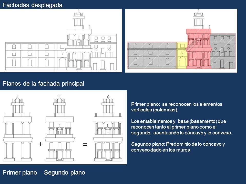 + = Fachadas desplegada Planos de la fachada principal Primer plano