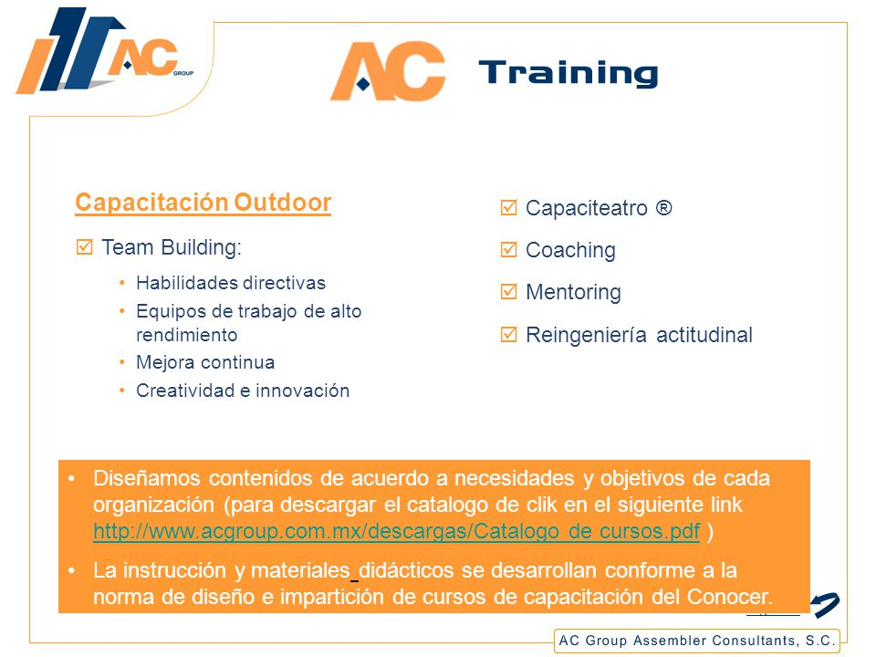 Capacitación Outdoor Capaciteatro ® Team Building: Coaching Mentoring
