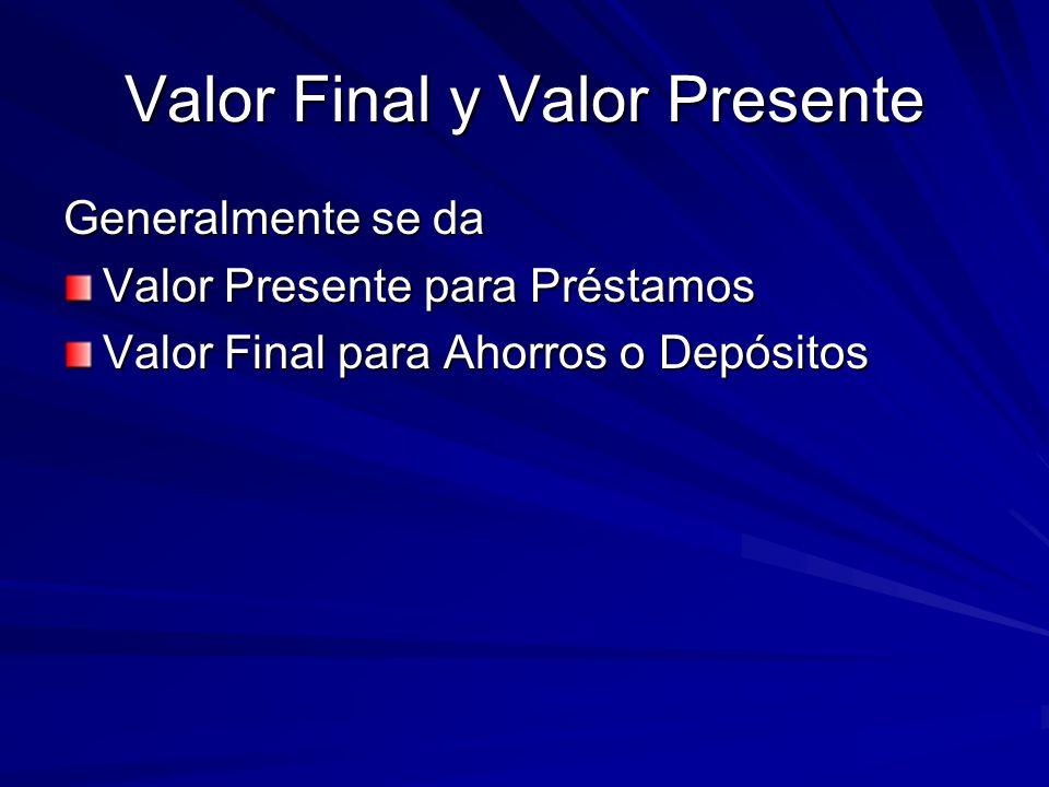 Valor Final y Valor Presente