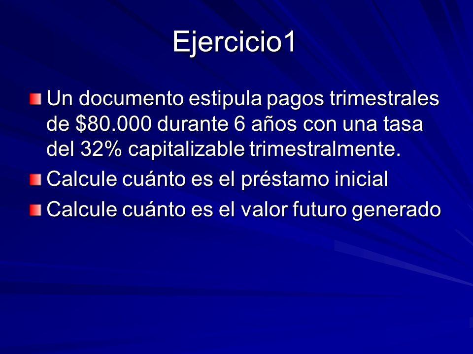 Ejercicio1Un documento estipula pagos trimestrales de $80.000 durante 6 años con una tasa del 32% capitalizable trimestralmente.