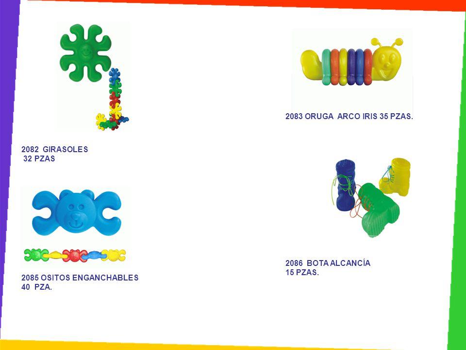 2083 ORUGA ARCO IRIS 35 PZAS. 2082 GIRASOLES. 32 PZAS. 2086 BOTA ALCANCÍA. 15 PZAS. 2085 OSITOS ENGANCHABLES.