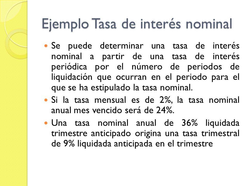 Ejemplo Tasa de interés nominal