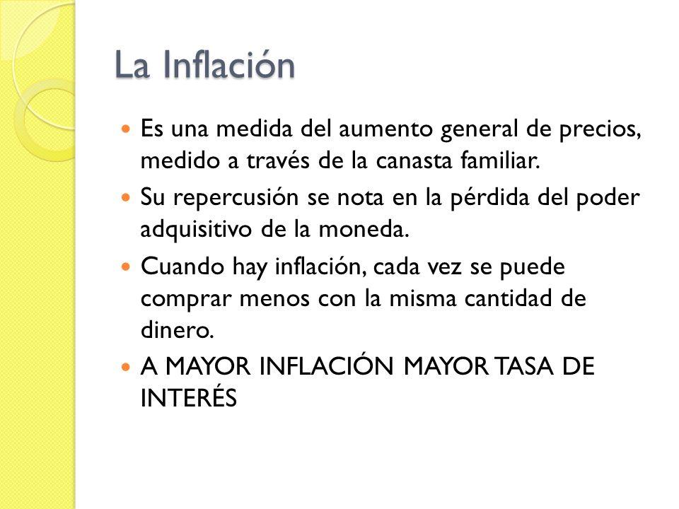 La Inflación Es una medida del aumento general de precios, medido a través de la canasta familiar.