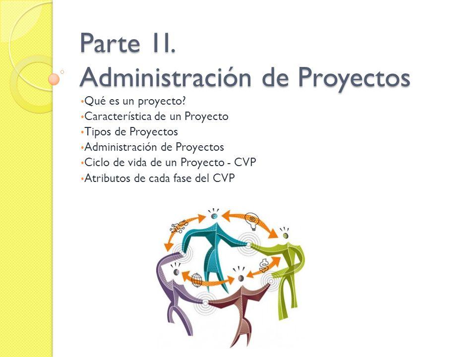 Parte 1I. Administración de Proyectos