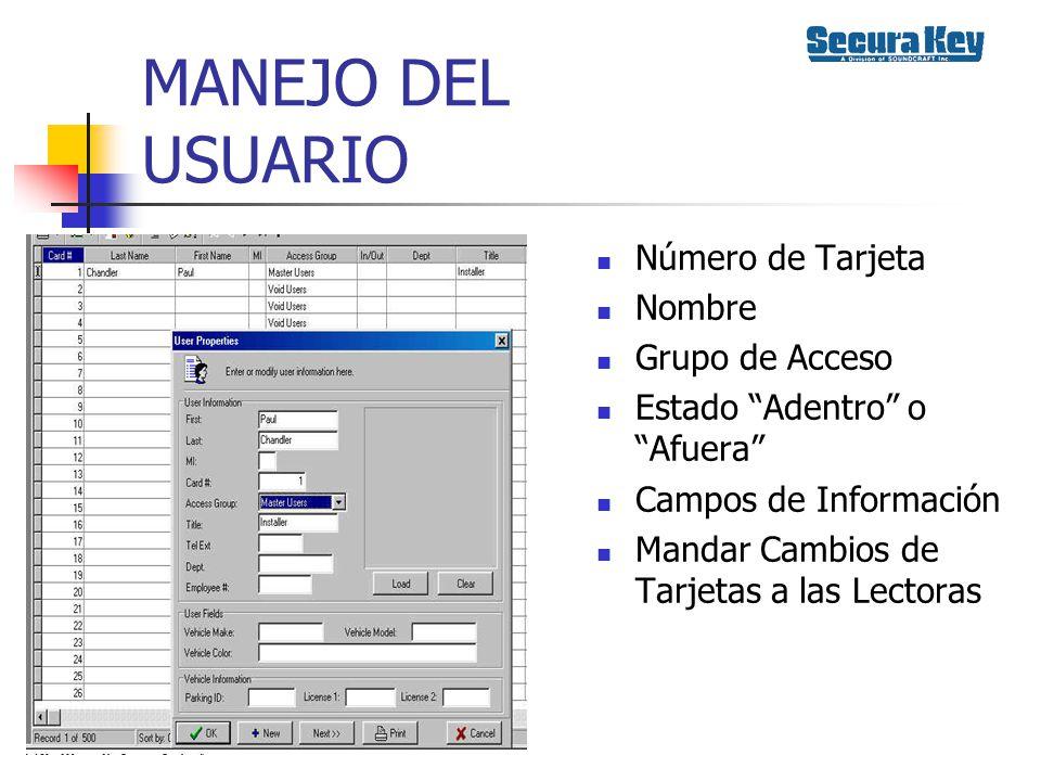 MANEJO DEL USUARIO Número de Tarjeta Nombre Grupo de Acceso