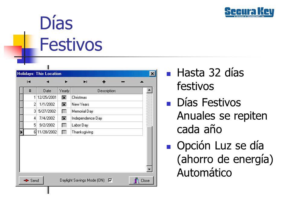 Días Festivos Hasta 32 días festivos