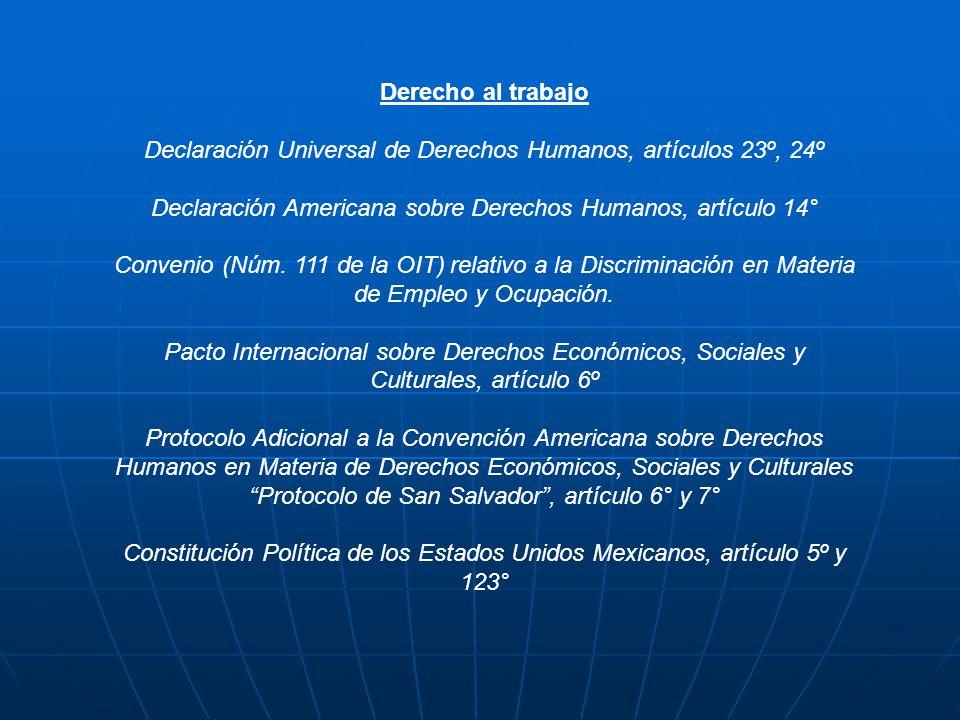 Declaración Universal de Derechos Humanos, artículos 23º, 24º