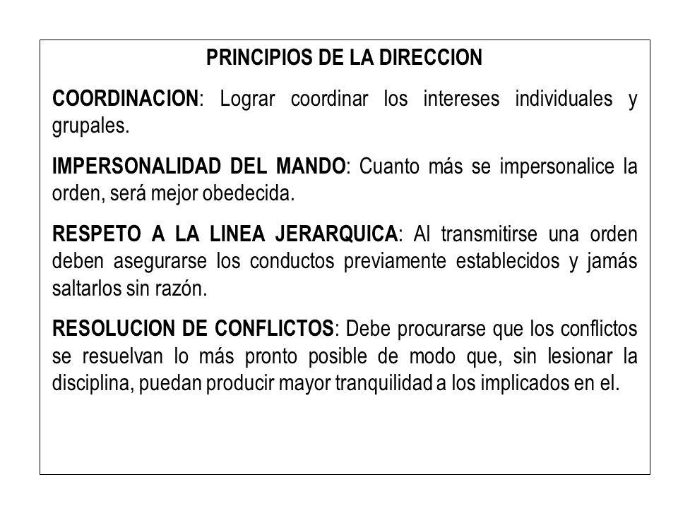 PRINCIPIOS DE LA DIRECCION