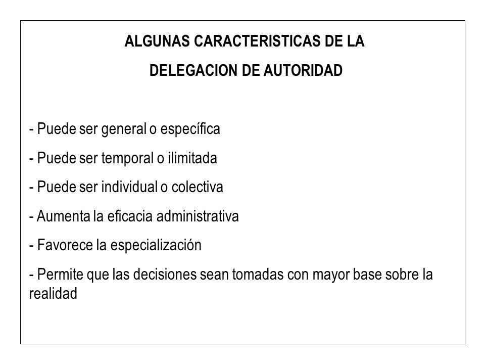 ALGUNAS CARACTERISTICAS DE LA DELEGACION DE AUTORIDAD