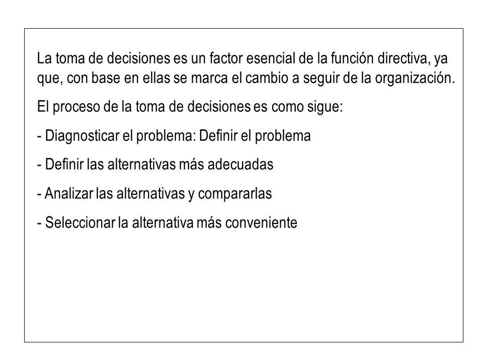 La toma de decisiones es un factor esencial de la función directiva, ya que, con base en ellas se marca el cambio a seguir de la organización.